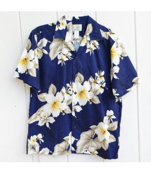 Hawaiian Cotton Aloha Shirt [ Hibiscus Trend ] Navy