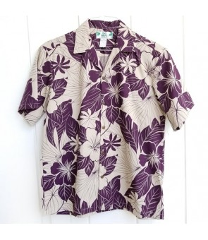 Hawaiian Cotton Aloha Shirt [ Lanai ] Plum