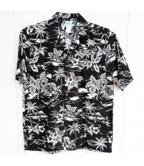 Hawaiian Cotton Aloha Shirt [ Love Shack ] Black