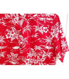 Hawaiian Cotton Aloha Shirt [ Love Shack ] Red
