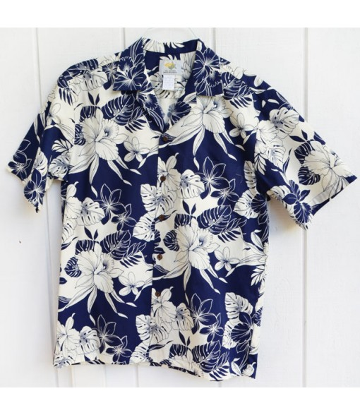 Hawaiian Cotton Aloha Shirt [ Monstera Orchid ] Navy