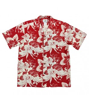 Hawaiian Cotton Aloha Shirt [ Monstera Orchid ] Red