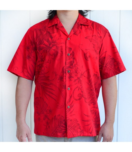 Hawaiian Cotton Aloha Shirt [ Monstera Plumeria ] Red