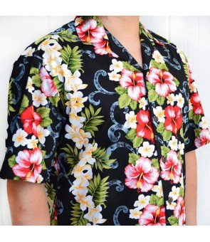 Hawaiian Cotton Aloha Shirt [ Plumeria Panel ] Black