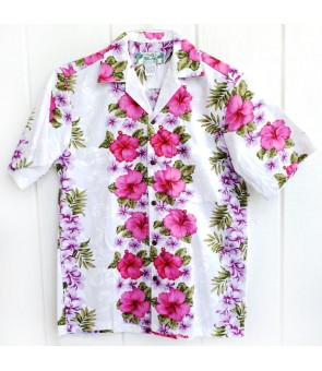 Hawaiian Cotton Aloha Shirt [ Plumeria Panel ] White