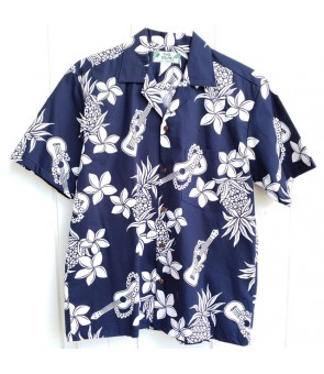 Hawaiian Cotton Aloha Shirt [ Ukulele Pineapple ] Navy