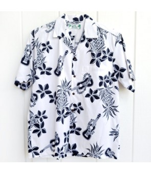 Hawaiian Cotton Aloha Shirt [ Ukulele Pineapple ] White
