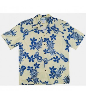 Hawaiian Cotton Aloha Shirt [ Ukulele Pineapple ] Yellow