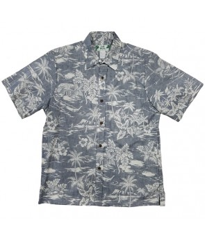 Hawaiian Reverse Cotton Aloha Shirt [ Love Shack ] Navy