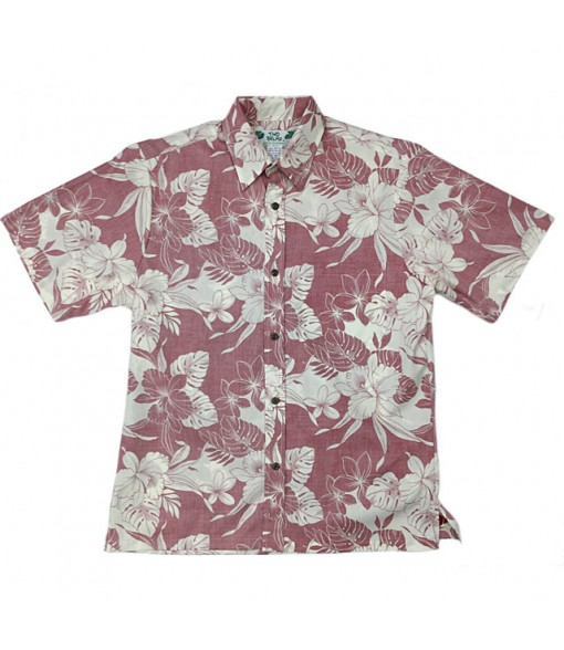 Hawaiian Reverse Cotton Aloha Shirt [ Monstera Hibiscus ] Red