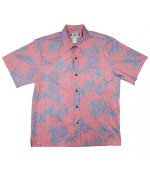 Hawaiian Reverse Cotton Aloha Shirt [ Ukulele Pineapple ] Coral