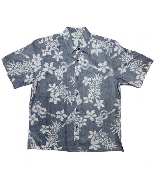 Hawaiian Reverse Cotton Aloha Shirt [ Ukulele Pineapple ] Navy