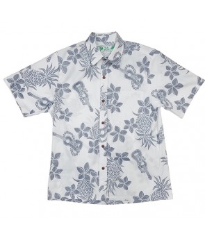 Hawaiian Reverse Cotton Aloha Shirt [ Ukulele Pineapple ] White