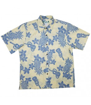 Hawaiian Reverse Cotton Aloha Shirt [ Ukulele Pineapple ] Yellow