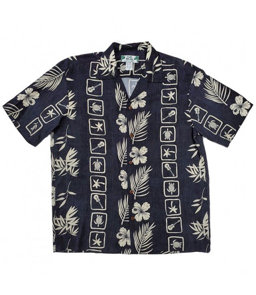 Hawaiian Rayon Aloha Shirt [ Aloha Square ] Black