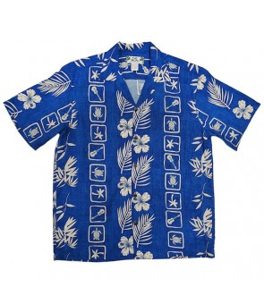 Hawaiian Rayon Aloha Shirt [ Aloha Square ] Blue