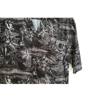 Hawaiian Rayon Aloha Shirt [ Etching ] Black