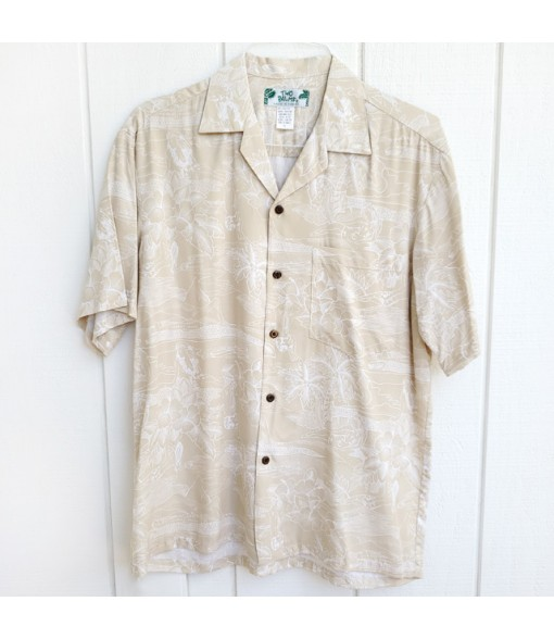 Hawaiian Rayon Aloha Shirt [ Etching ] Cream