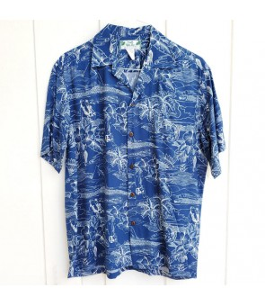 Hawaiian Rayon Aloha Shirt [ Etching ] Navy