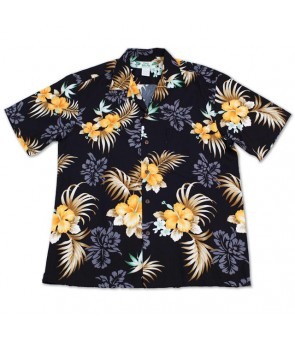 Hawaiian Rayon Aloha Shirt [ Fern Hibiscus ] Black