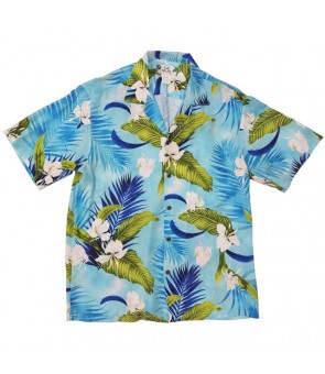 Hawaiian Rayon Aloha Shirt [ Ginger ] Blue