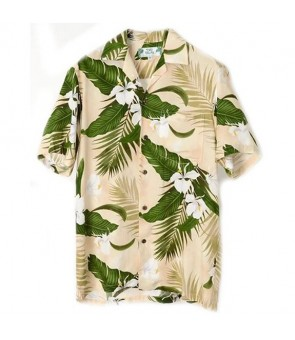 Hawaiian Rayon Aloha Shirt [ Ginger ] Cream
