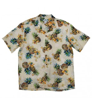 Hawaiian Rayon Aloha Shirt [ Golden Pineapple ] Cream