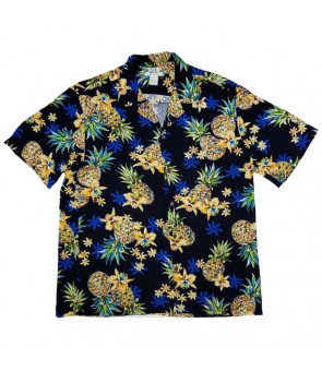 Hawaiian Rayon Aloha Shirt [ Golden Pineapple ] Navy