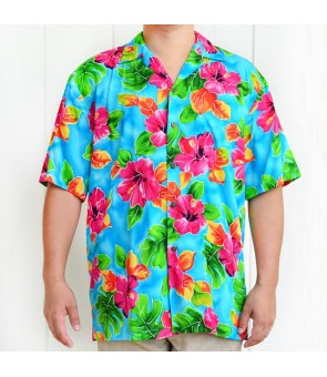 Hawaiian Rayon Aloha Shirt [ Hibiscus Watercolor ] Blue