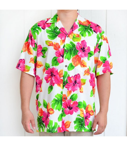 Hawaiian Rayon Aloha Shirt [ Hibiscus Watercolor ] White