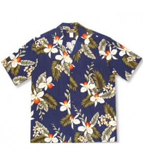Hawaiian Rayon Aloha Shirt [ Hawaiian Orchid ] Navy