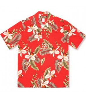 Hawaiian Rayon Aloha Shirt [ Hawaiian Orchid ] Red