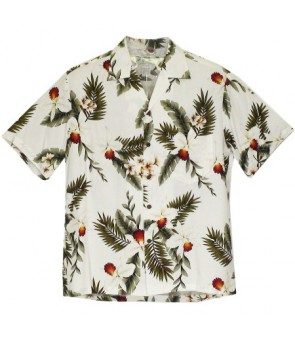Hawaiian Rayon Aloha Shirt [ Hawaiian Orchid ]  White