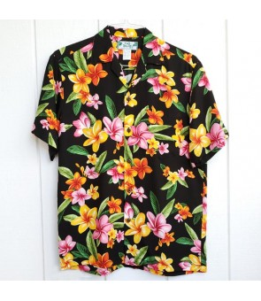 Hawaiian Rayon Aloha Shirt [ Happy Plumeria ] Black
