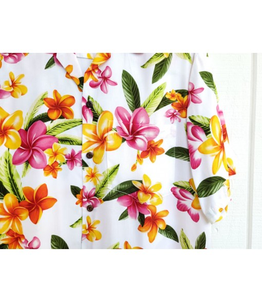 Hawaiian Rayon Aloha Shirt [ Happy Plumeria ] White
