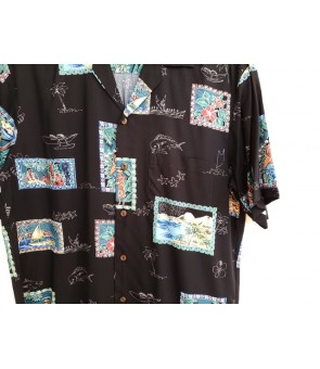 Hawaiian Rayon Aloha Shirt [ Hawaii Royal ] Black