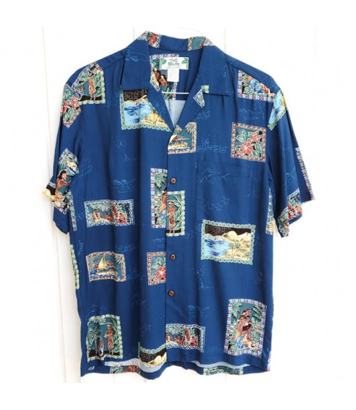 Hawaiian Rayon Aloha Shirt [ Hawaii Royal ] Navy