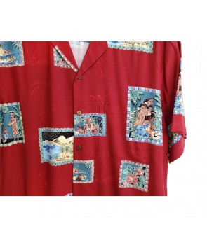 Hawaiian Rayon Aloha Shirt [ Hawaii Royal ] Red