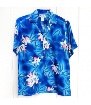 Hawaiian Rayon Aloha Shirt [ Midnight Orchid ] Blue