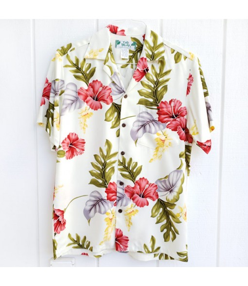 Hawaiian Rayon Aloha Shirt [ Monstera ] Cream
