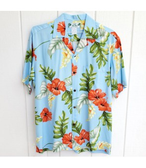 Hawaiian Rayon Aloha Shirt [ Monstera ] Light Blue