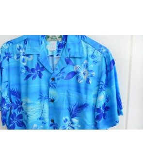 Hawaiian Rayon Aloha Shirt [ Moonlight Scenic ] Blue