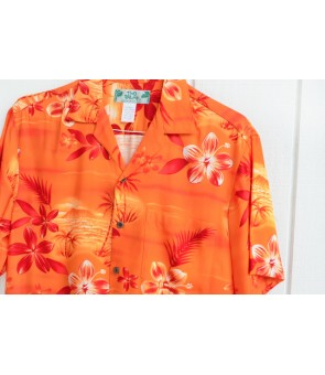 Hawaiian Rayon Aloha Shirt [ Moonlight Scenic ] Orange