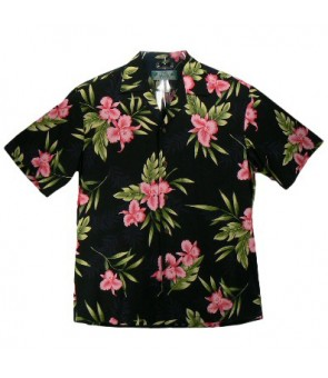 Hawaiian Rayon Aloha Shirt [ Orchid Fern ] Black