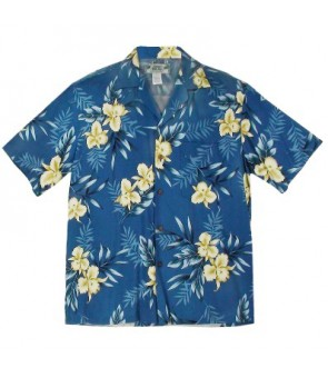 Hawaiian Rayon Aloha Shirt [ Orchid Fern ] Blue