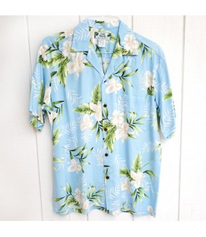 Hawaiian Rayon Aloha Shirt [ Orchid Fern ] Light Blue