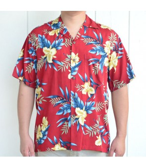 Hawaiian Rayon Aloha Shirt [ Orchid Fern ] Red