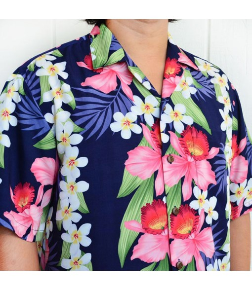 Hawaiian Rayon Aloha Shirt [ Plumeria Orchid Panel ] Navy