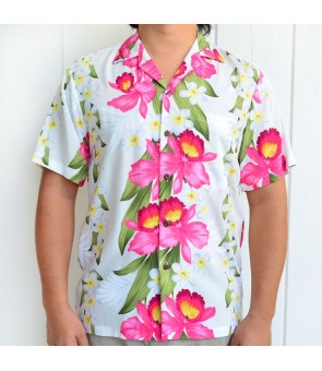 Hawaiian Rayon Aloha Shirt [ Plumeria Orchid Panel ] White