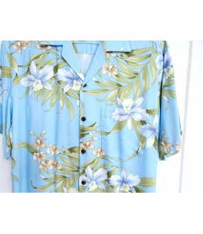 Hawaiian Rayon Aloha Shirt [ Pali Orchid ] Light Blue
